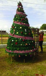 A prisoner working on a Christmas tree in Timehri