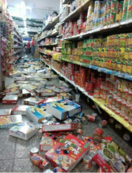 Grocery items remain scattered on the floor of a supermarket in north Trinidad following yesterday's 6.1 earthquake.